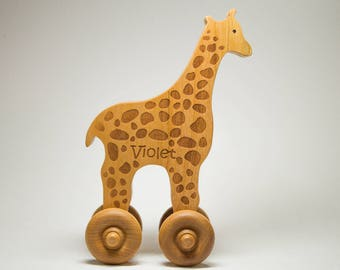 Wood Toy Car -  Personalized Wooden Toy, Push Toy - Animal Giraffe - Personalized Push Toy For Toddlers - Baptism Gift, Birthday Gift