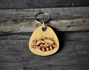 Raccoon mom and baby - genuine leather keychain