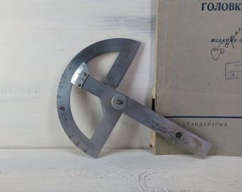 Locksmith tool protractor, vintage measuring tool, made in the USSR, antique tool, decor for the workshop