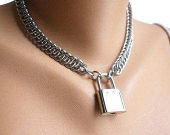 Locking BDSM Collar, Locking Slave Collar, Steel BDSM collar, Slave Collar Stainless Steel, Locking Chainmaille Collar, Steel Fetish Collar