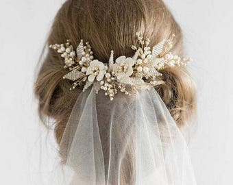 Pearls Hair Comb Chic Nice Ivory Gold Beige Bridal/Bridesmaid/Bride Comb