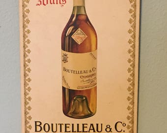 Vintage Boutelleau & Co Cognac Advertising New Old Stock Sign