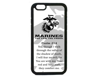 USMC Marines Prayer Psalm 23:4 Marine Corps for iPhone 4 4s 5 5s  5C 6 6s 6 Plus 7 7 Plus iPod Touch 4 5 6 case Cover Semper fi