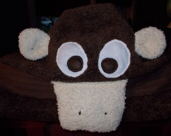 Childrens Monkey & Frog Hooded Towels