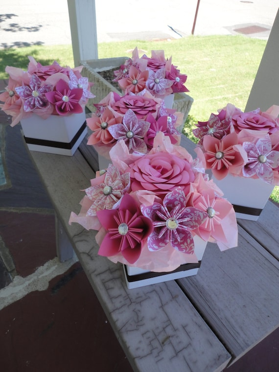 Origami Paper Flower Centerpiece Set of 5 Kusudama Pink Small