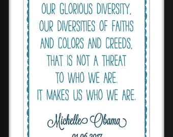 "Michelle Obama ""Diversity"" Quote Unframed Print"