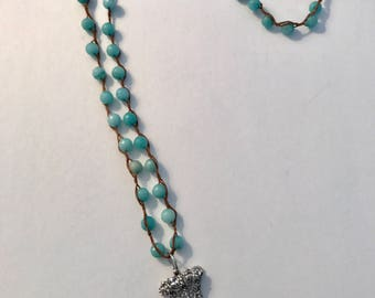 Amazonite and Swarovski Crystal Necklace on Waxed Linen