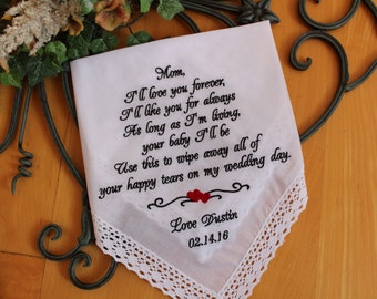 Mother of the Groom Gift, I'll love you forever, I'll like you for always, IVORY,Mother wedding Hankerchief, Personalized. LS4LS8F38