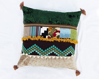 Bohemian Select Oversize Pillow--Hippie Chic Decorative Pillow--Designer Decor--Boho--Vintage--Anthropologie Style--Upcycled--Mood Fabrics