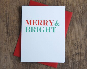 Merry & Bright Letterpress Card - Set of 6