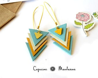 Triangle - Golden sky blue leather earrings