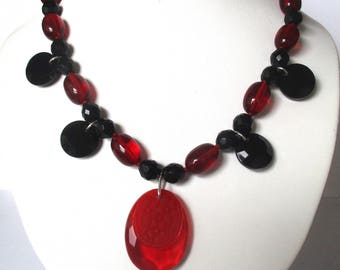 Vintage Red Crystal & French Jet Bead Necklace