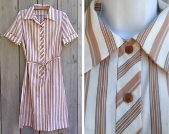 Vintage dress | Striped shirtwaist shift dress with matching fabric sash
