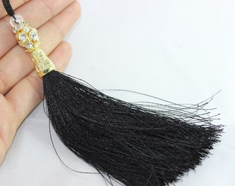 1 Pc Black Silky Thread Tassel 130 mm with Rhinestones and Gold Tone Caps for your lovely designs