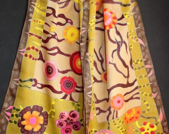 Hand painted satin scarf,Green brown orange khaki,Long floral silk scarf,Luxury gift for her,Etsy ASAP,Batik,Colorful Flowers