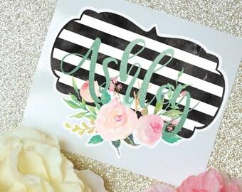 Stripes and Flowers Monogram Decal, Flower Decal, Watercolor Flowers, Monogram Sticker, Tumbler Decal, Watercolor Peonies, Printed Decal