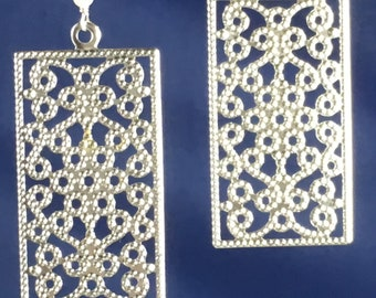 Silver filigree rectangles, earrings
