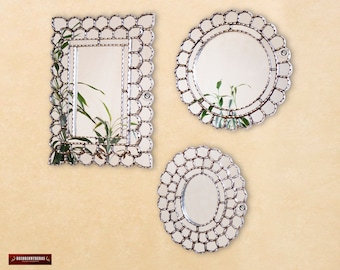 "Silver Wall Mirror Set 3 ""Andean Silver"", Round, Oval & Rectangular Mirror Decorative for living room, Peruvian Vanity Mirror Wall Decor"