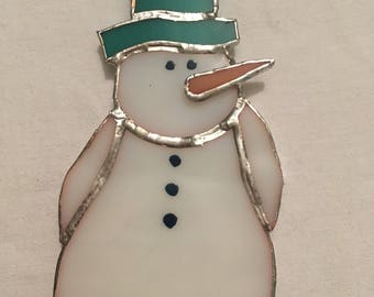 Stained glass snowman christmas suncatcher/tree hanging