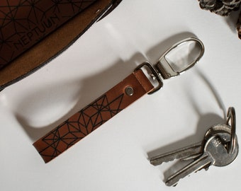 Leather Keychain with geometric pattern, Leather Keyholder, Leather keyring, Geometry