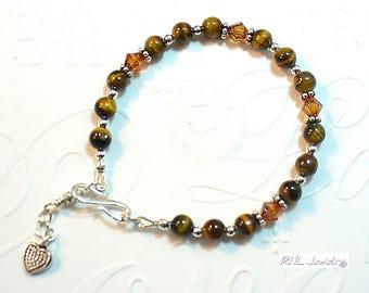 Tigers Eye Bracelet, Chakra Bracelets, Gift Jewelry, Crystal Silver Bracelet - B2017-09