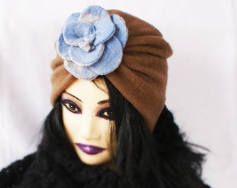 Wool Turban Hat Brown Felt Turban Only One Made Turban OOAK Turban Hat One of a kind turban Women's wool hat Eco Fashion Handmade in Norway