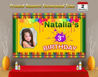 Crayola Banner, Crayola Backdrop, Crayola Birthday Banner, Crayola Party Banner, Crayola Personalize Banner, Party Banner, Crayola Party