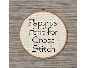 """PDF Cross Stitch Pattern: Full Alphabet of Uppercase and Lowercase Letters Inspired by the font """"Papyrus"""""""