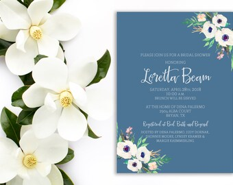 Magnolia Bridal Shower Invitation, Bridal Shower, Blue Invitation, Floral invitation, magnolia