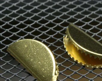 15 pcs 12.5x25mm raw brass ribbon crimp ends 1509