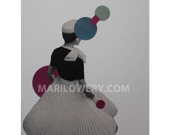 Dot, One of a Kind Surreal Art Geometric 8.5 x 11 Inch Paper Collage, Colorful Retro Art