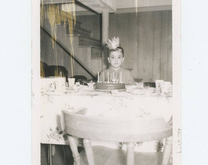 Vintage Polaroid Snapshot Photo: Birthday Boy (81635)