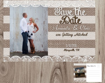 Burlap and  Lace Save the Date Post Card Printable DIY