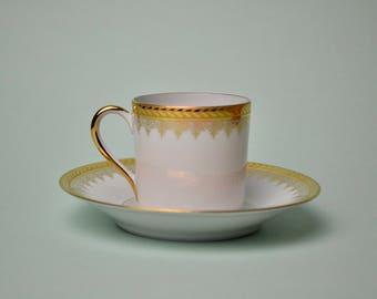 Vtg DC Limoges France Demitasse Cup Saucer Tea Set Demitasse Espresso China  White Gold Ornate