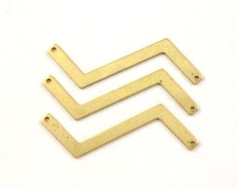 10 gold CHEVRON blank jewelry pendants. 53mm x 4.5mm (S64). Please read description