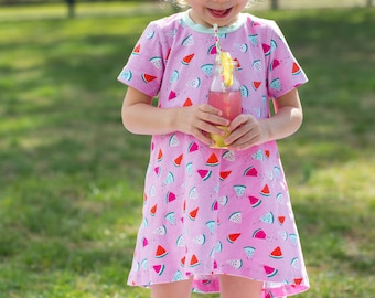 Summer Twirl Dress - Swing Dress for Girl - Twirl Dress for Girl - Little Girl Dresses - High Low Dress - Watermelon Dress - Baby Dress