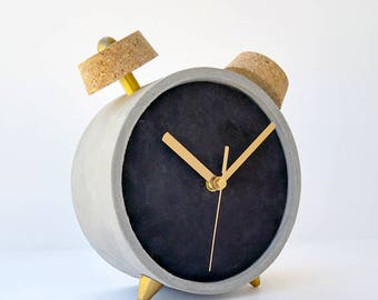 Chalkboard clock, Concrete clock , Black Clock, Christmas gift, office desk clock, table clock , Round clock, Housewarming gift, Office gift