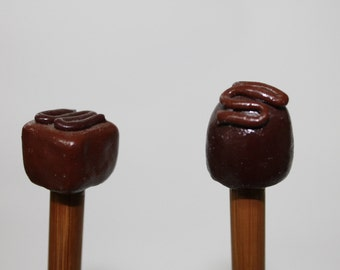 Chocolates Knitting Needles Polymer Clay topped Bamboo US Size 9 /5.5 mm