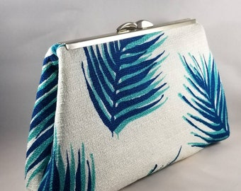 White Linen Clutch with Feather pattern