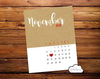 Pregnancy Announcement Calendar // Printable // Custom Calendar // Pregnancy Reveal // Baby Announcement