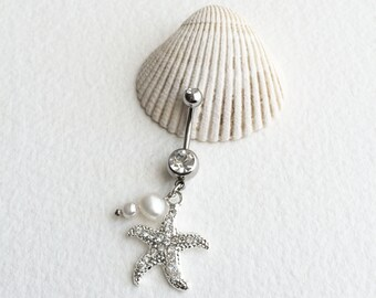 pearl belly ring,Belly button ring,starfish, bellybutton ring, beach wedding starfish belly ring, silver navel belly ring PEARL wholesale