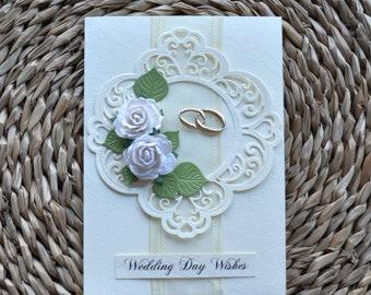 Ecru white roses Wedding Anniversary Handmade Card wedding rings