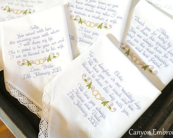 Wedding Gifts Personalized Wedding Gift Your Own Words Embroidered Wedding Handkerchiefs Set of 5 Wedding Gifts by Canyon Embroidery on Etsy
