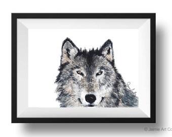 Wolf Art Print, Animal Wall Art, Watercolor Illustration, Childrens Art, Nursery Wall Art, Kids Wall Art, Wall Decor, Frameable Art