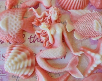 Mermaid, fish and Seashell Soap Set - gift for her, gift for mom