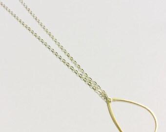 Teardrop Necklace, Rain Drop Necklace, Geometric Jewelry, Minimalist Necklace, Simple Necklace, Brass Raindrop Pendant, Modern Jewelry