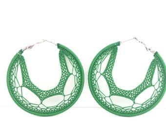 """Crochet hoops 2 1/4"""" in green"""