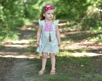 Girls flutter sleeve dress - toddler girls dress for summer - toddler girls clothes for summer - girls vintage style dress - girls dress