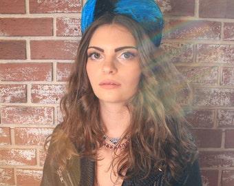 Blue & Black Feather Cap // Vintage // Punk Rock