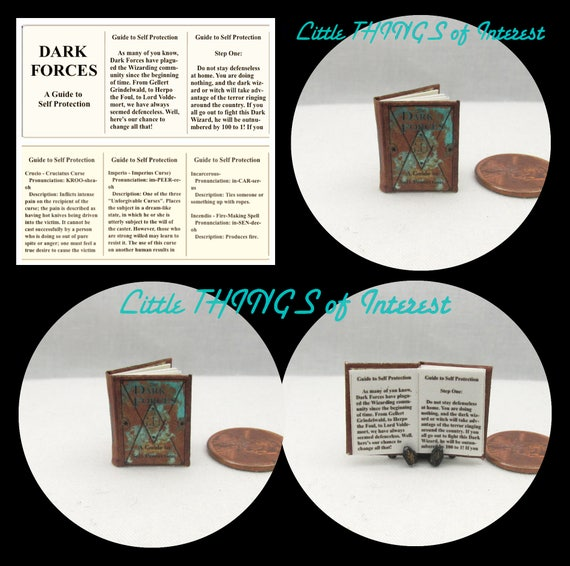DARK FORCES Self Protection Guide Magic Textbook Miniature Dollhouse 1:12 Scale Illustrated Readable Magic Witch Popular Boy Wizard Potter